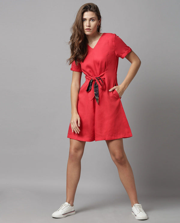 APT-SOLID WITH CONTRAST PLAYSUIT-RED JUMPSUIT RAREISM