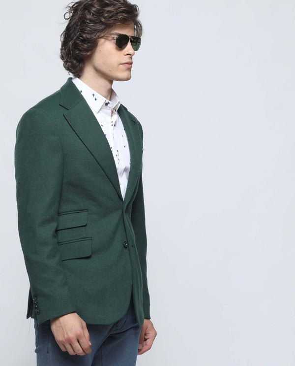 BOSCO-MEN'S FASHION TEXTURED BLAZER-DARK GREEN BLAZER RARE RABBIT