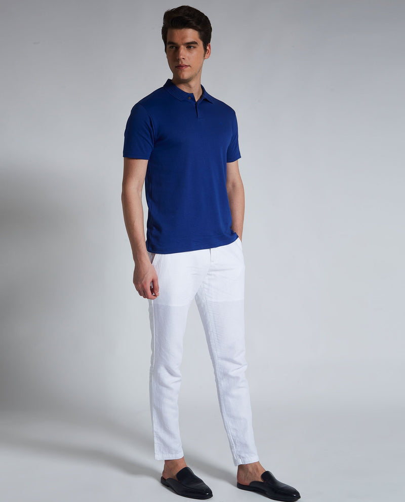 BRAIDED 2-MEN'S LIQUID COTTON POLO T-SHIRT-ROYAL BLUE POLO RARE RABBIT