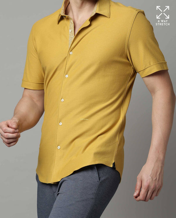 BREATH-SOLID KNITTED STRETCH SHIRT-MUSTARD SHIRT RARE RABBIT