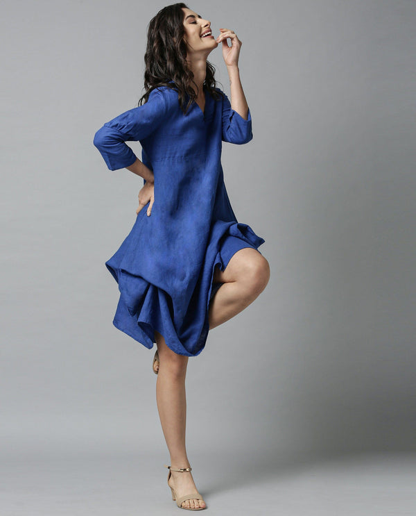 CHERRY-1-TIE UP LINEN DRESS-BLUE DRESS RAREISM