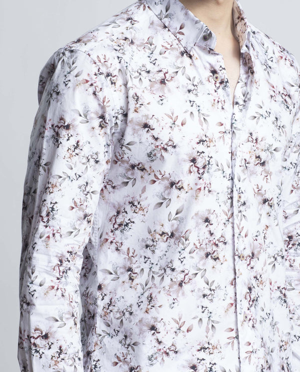 CLAMOUR-Floral Shirt-WHITE