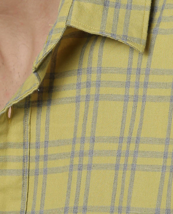 DARENN-CHECK SHIRT-YELLOW SHIRT RARE RABBIT