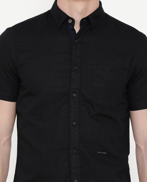 Driven-3-Linen Blend Shirt-Black