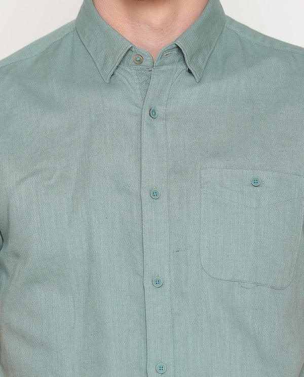 Driven-3-Linen Blend Shirt-Green SHIRT RARE RABBIT