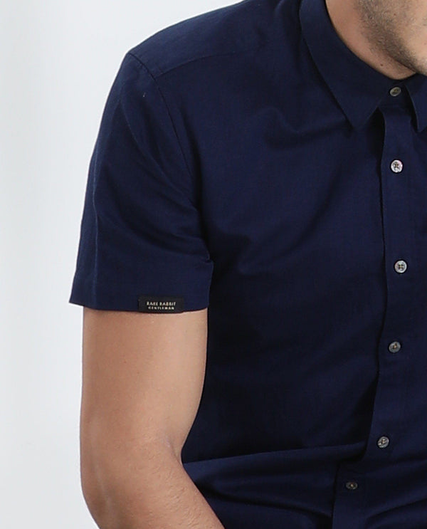 Driven-2-Linen Blend Shirt-Navy