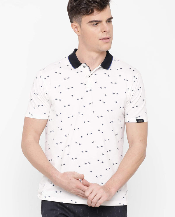 Glow-Printed Polo-White