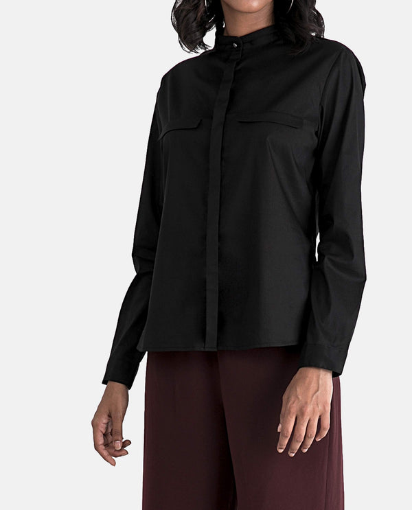Ism - Concealed Placket Top - Black