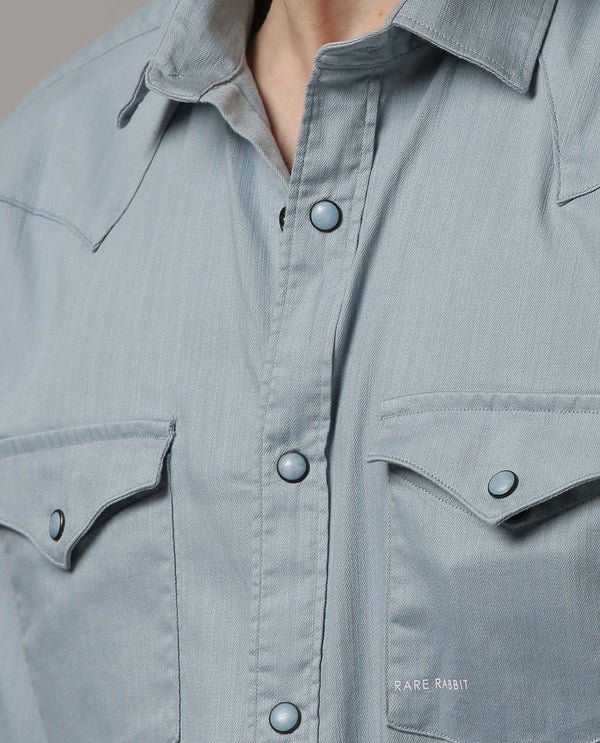 ISTA-STRETCH DENIM SHIRT-BLUE SHIRT RARE RABBIT