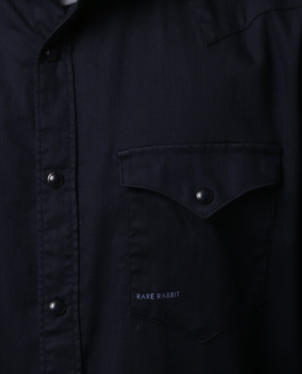 ISTA-STRETCH DENIM SHIRT-NAVY SHIRT RARE RABBIT
