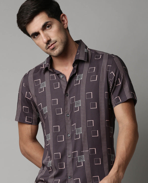KAS-PRINTED FLOWY SHIRT-NAVY SHIRT RARE RABBIT