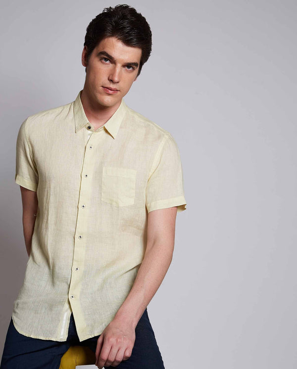 LARDO-Linen Shirt-YELLOW