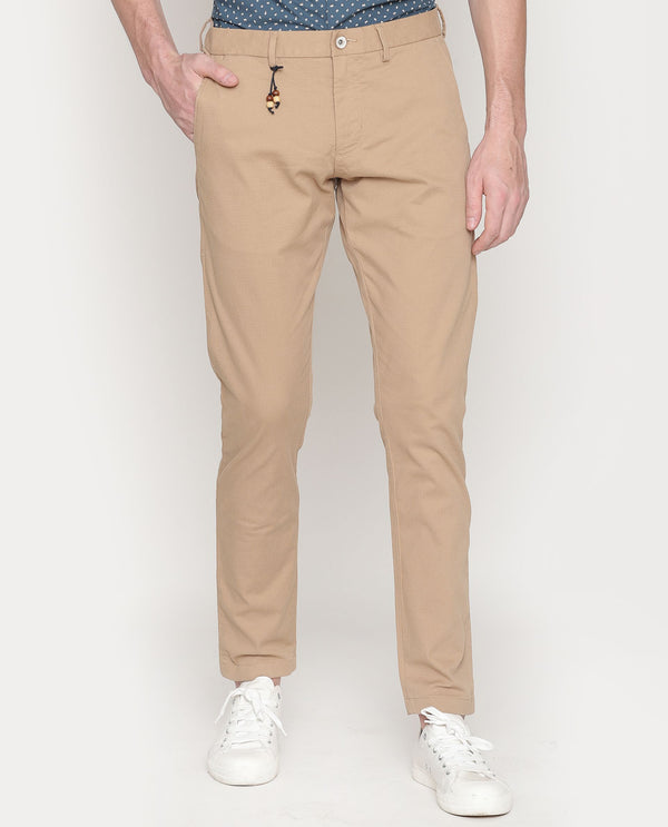 Leno-Solid Trouser-Beige