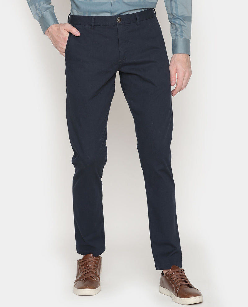 Leno-Basic Trouser-Navy TROUSERS RARE RABBIT