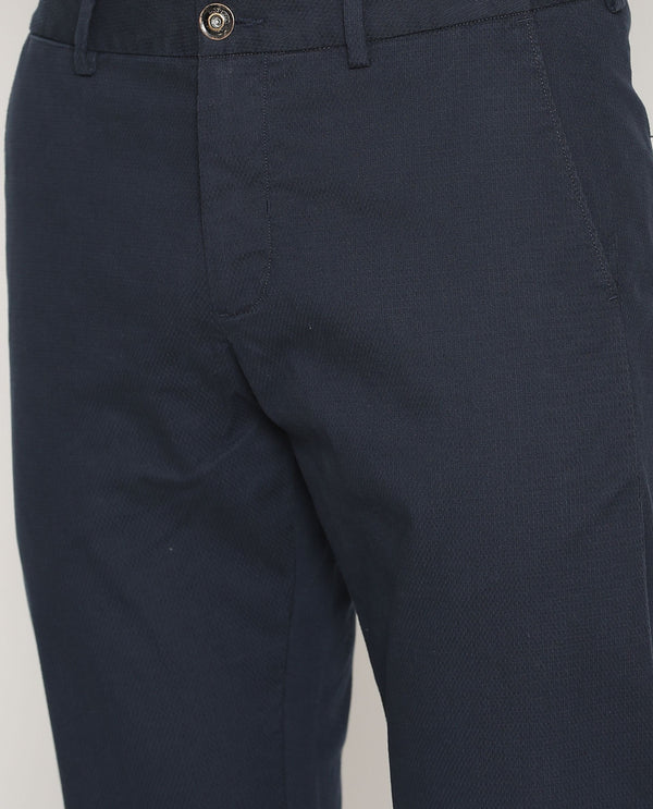 Leno-Solid Trouser-Navy