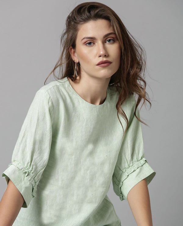 MELLOW-RUFFLED SLEEVE LINEN TOP-GREEN TOP RAREISM