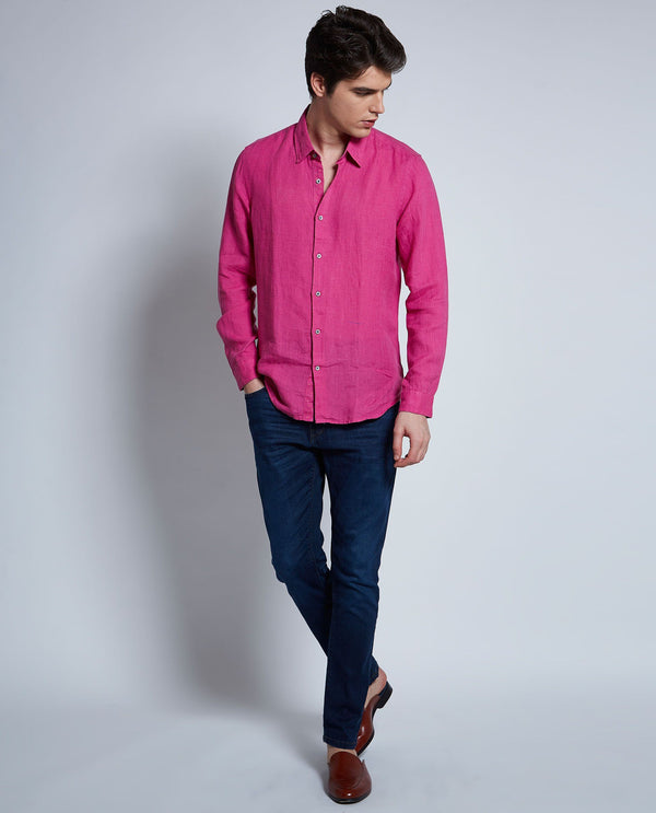 NATURE-Linen Shirt-PINK SHIRT RARE RABBIT