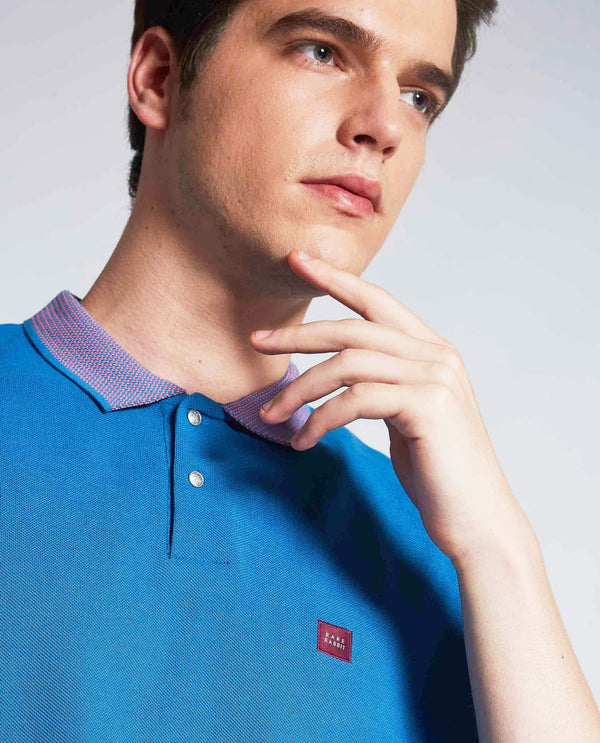 NEO-PIMA POLO T-SHIRT- BLUE POLO RARE RABBIT