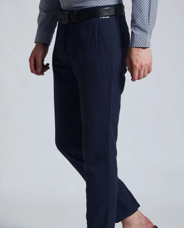 PAJAM-LINEN BLEND TROUSER- BLUE TROUSERS RARE RABBIT