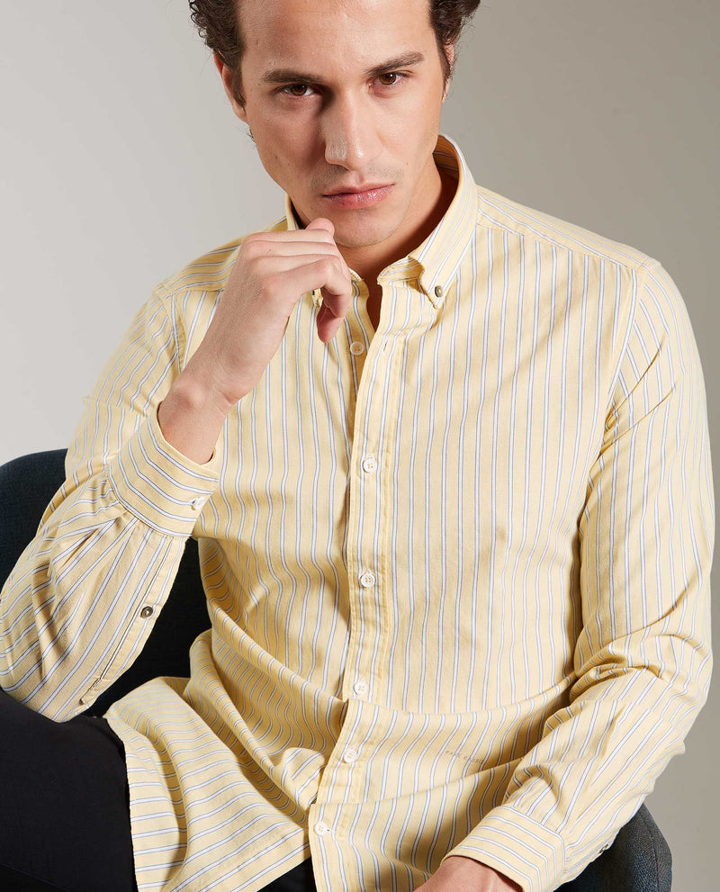 PARLE-STRIPE SHIRT-YELLOW SHIRT RARE RABBIT