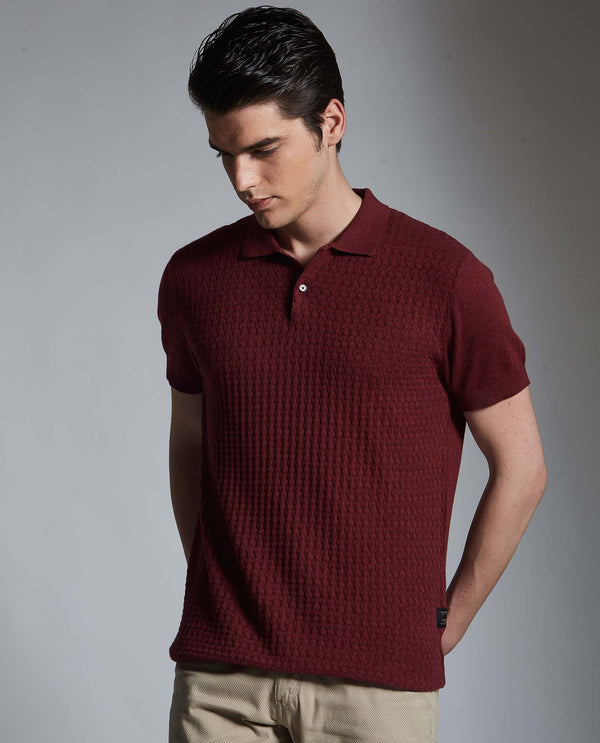 PAST-PIMA POLO T-SHIRT- MAROON POLO RARE RABBIT