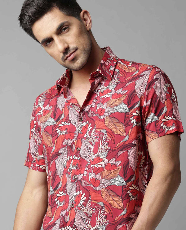 SIN-PRINTED FLOWY SHIRT-RED SHIRT RARE RABBIT