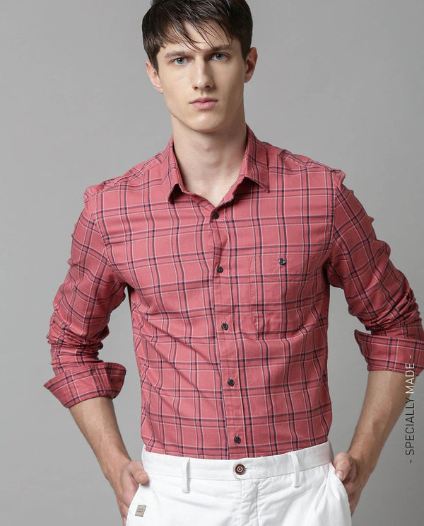 SHUTTER-TEXTURED CHECK SHIRT-RED SHIRT RARE RABBIT