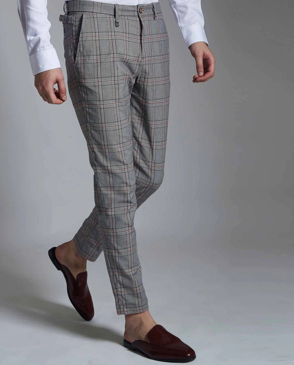 SPAIN-PLAID TROUSERS -GREY