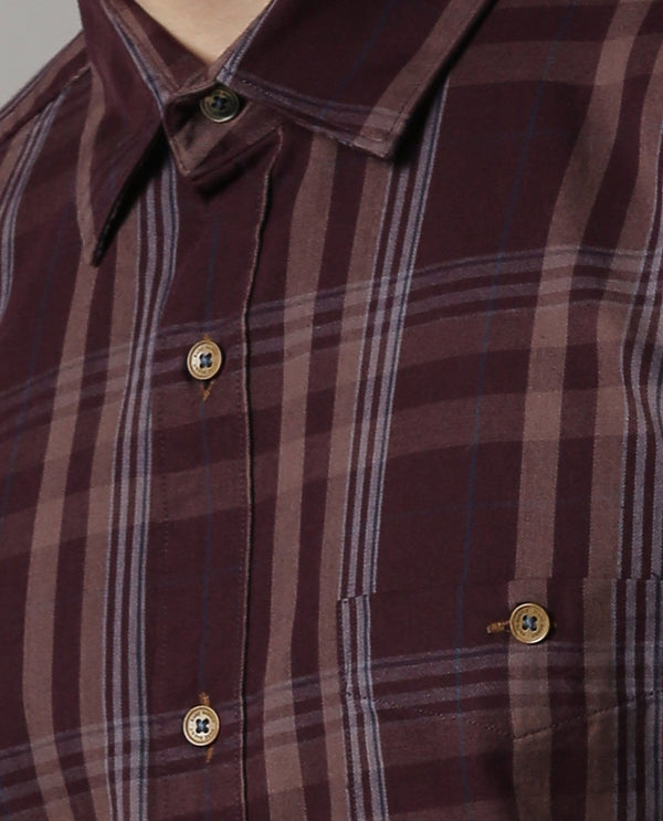STIR-CHECK SHIRT-MAROON SHIRT RARE RABBIT