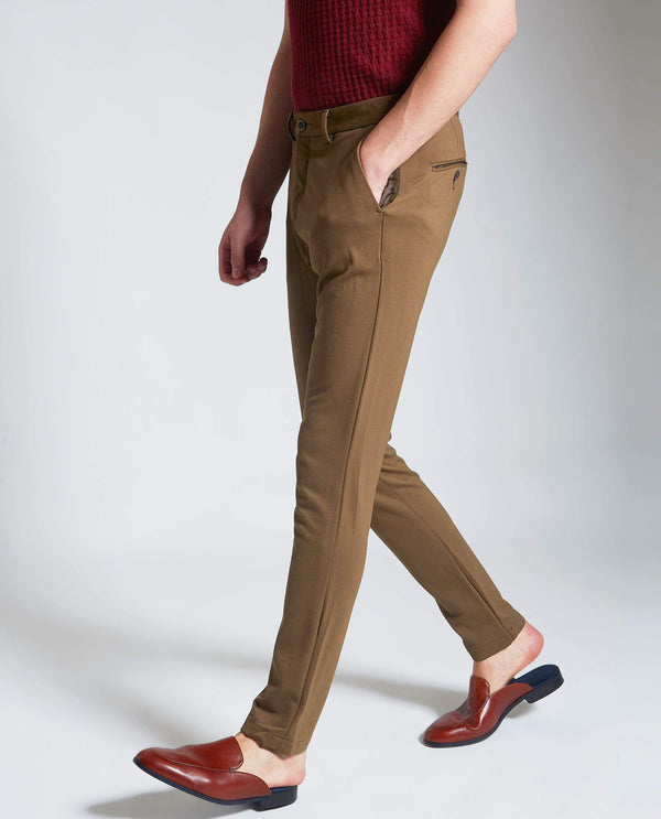 TRAWORK-2-KNIT TROUSERS -KHAKI TROUSERS RARE RABBIT