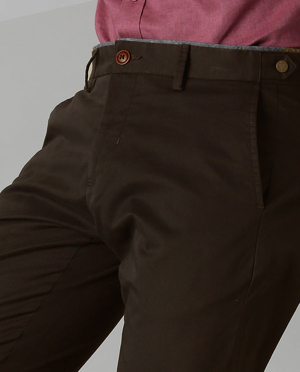TREWS-SOLID STRETCH TROUSER-BROWN TROUSERS RARE RABBIT