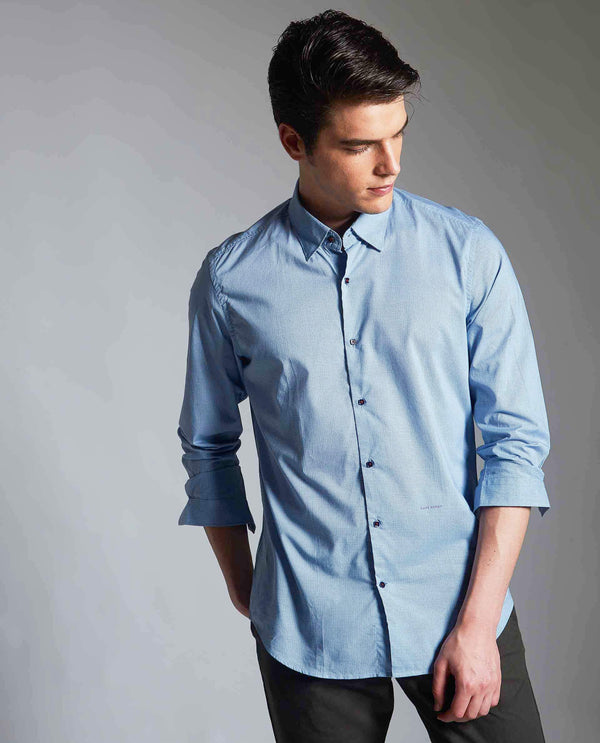 TUNNEL-MICROPRINT SHIRT -BLUE
