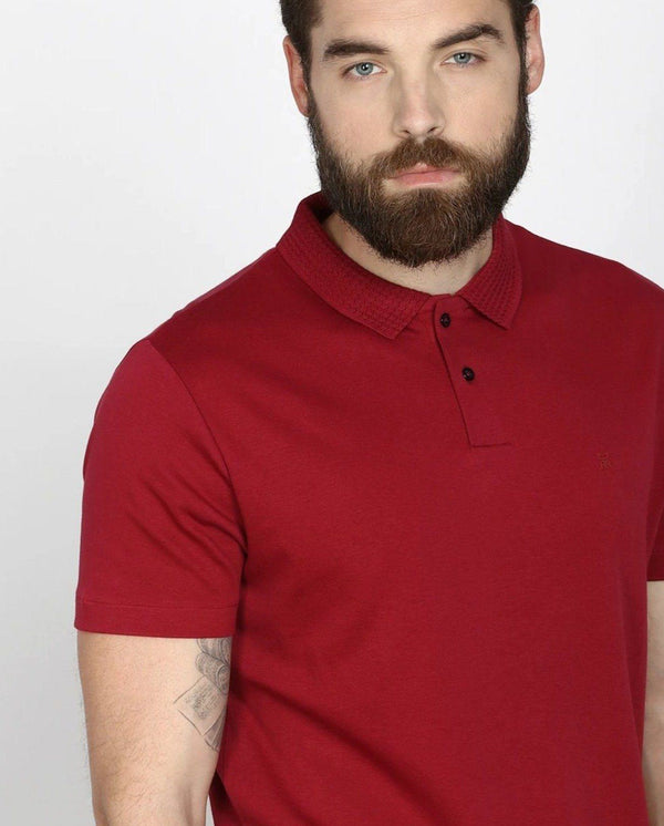 BRAIDED-LIQUID COTTON POLO- RED