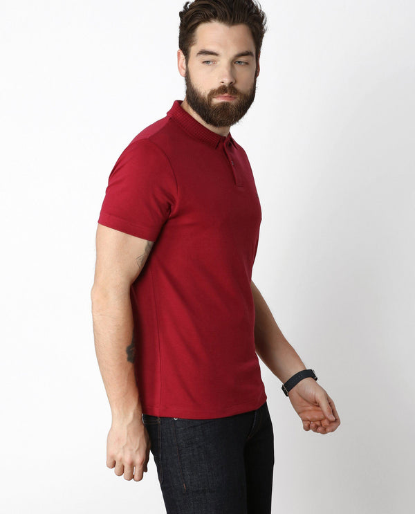 BRAIDED-MEN'S ICONIC LIQUID COTTON POLO T-SHIRT-RED