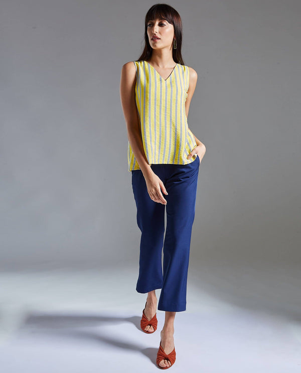 WAVE-SLEEVELESS STRIPE TOP-YELLOW TOP RAREISM