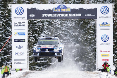 Sebastien Ogier (FRA) performs during the FIA World Rally Championship 2016 in Karlstad, Sweden on February 14, 2016