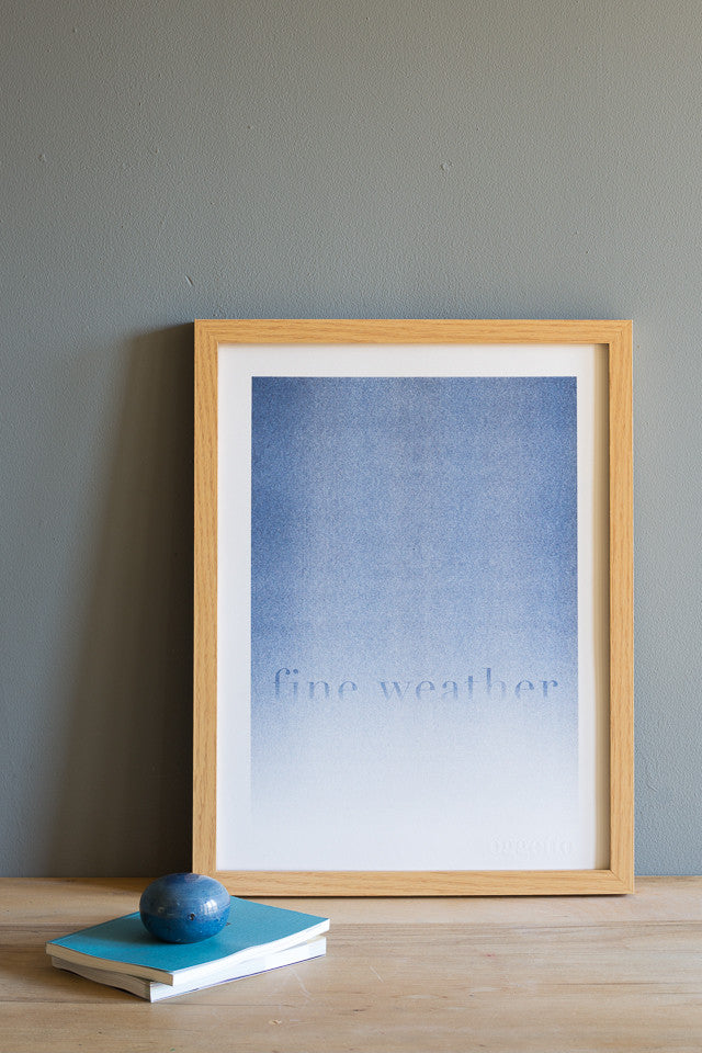 blue gradient typography risograph print