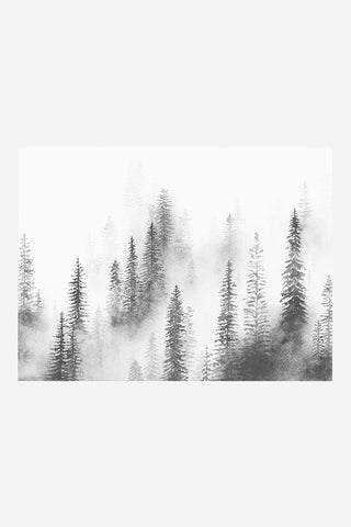 melissa selmin forest mist black and white watercolour print