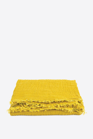 Waffled Linen Throw - Mustard - Oggetto