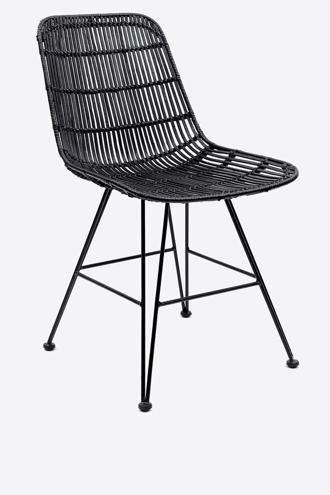 Rattan Dining Chair - Black - Oggetto