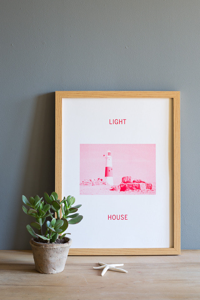 red typography light house risograph print