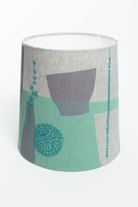 SAMPLE Screen Printed and Embroidered Lamp Shade - Grey/Green - Oggetto