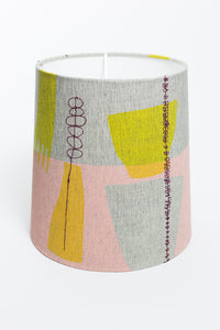 SAMPLE Screen Printed and Embroidered Lamp Shade - Pink/Mustard - Oggetto