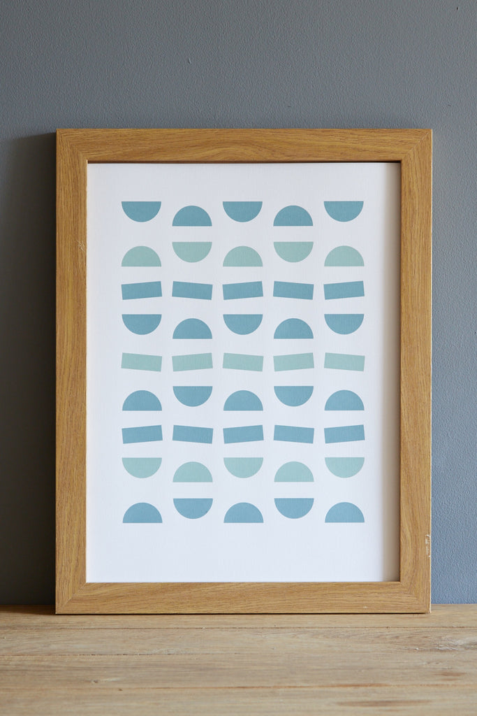 segments screen print blue