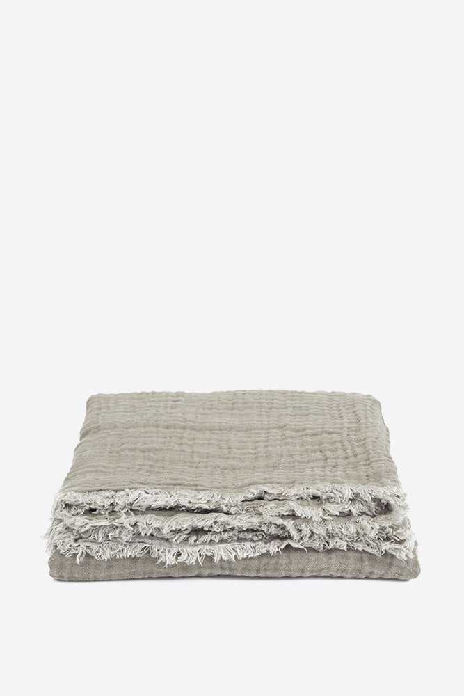 Waffled Linen Throw - Taupe - Oggetto