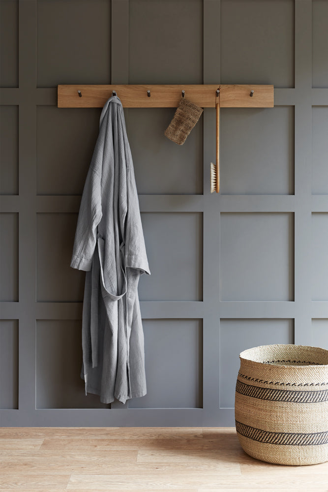 waffle linen bathrobe light grey