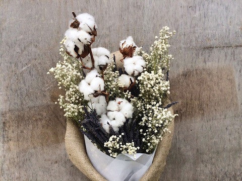 [V-Day] Dried Cotton, Lavender & Baby's Breath Bouquet
