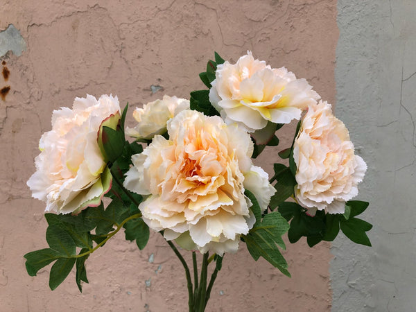 Faux Peonies Bunch - Fluffy Peach