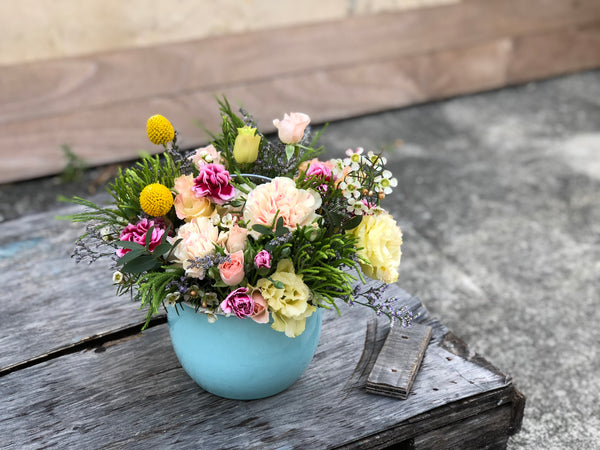 **From The Flower Fields - Sky Blue Carry Pot**
