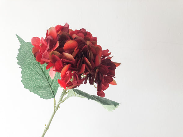 FAUX HYDRANGEA - RED, SINGLE